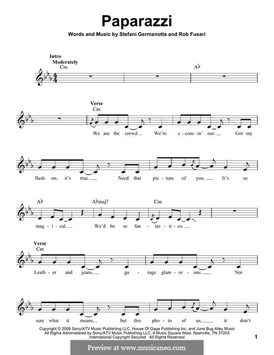 Paparazzi (Lady Gaga): Letras e Acordes by Robert Fusari, Stefani Germanotta