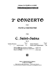Concerto for Piano and Orchestra No.2 in G Minor, Op.22: Partitura completa by Camille Saint-Saëns
