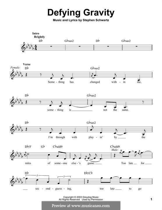 Defying Gravity (from the Broadway Musical Wicked): Letras e Acordes by Stephen Schwartz