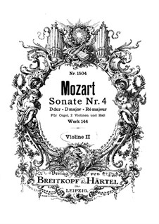 Church Sonata for Two Violins, Organ and Basso Continuo No.4 in D Major, K.144: violino parte II by Wolfgang Amadeus Mozart