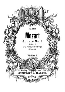 Church Sonata for Two Violins, Organ and Basso Continuo No.10 in F Major, K.244: violino parte I by Wolfgang Amadeus Mozart