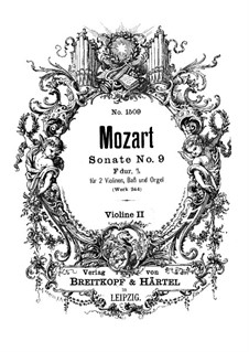 Church Sonata for Two Violins, Organ and Basso Continuo No.10 in F Major, K.244: violino parte II by Wolfgang Amadeus Mozart