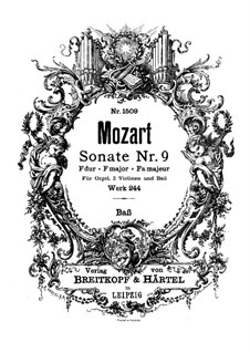Church Sonata for Two Violins, Organ and Basso Continuo No.10 in F Major, K.244: parte basso continuo by Wolfgang Amadeus Mozart