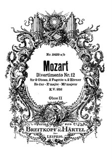 Divertissement No.12 in E Flat Major, K.252: Oboe parte II by Wolfgang Amadeus Mozart