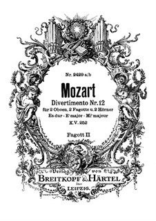 Divertissement No.12 in E Flat Major, K.252: fagote parte II by Wolfgang Amadeus Mozart