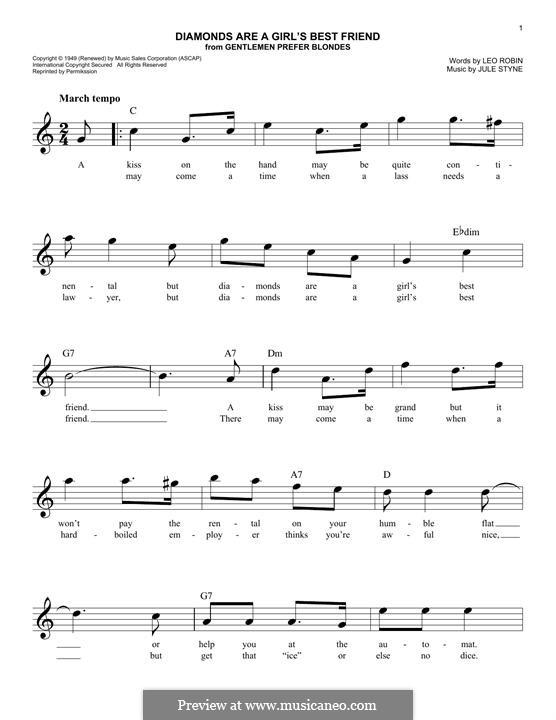 Diamonds are a Girl's Best Friend (Marilyn Monroe): melodia by Jule Styne
