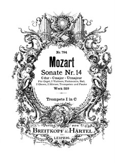 Church Sonata for Orchestra No.16 in C Major, K.329 (317a): Tpumpet I part by Wolfgang Amadeus Mozart