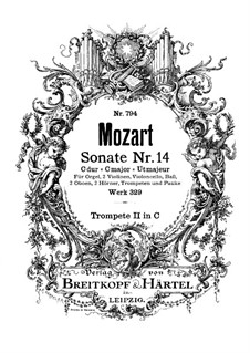 Church Sonata for Orchestra No.16 in C Major, K.329 (317a): Tpumpet II part by Wolfgang Amadeus Mozart