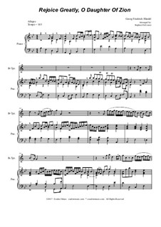 No.18 Rejoice Greatly, O Daughter of Zion: For Bb-trumpet and piano by Georg Friedrich Händel