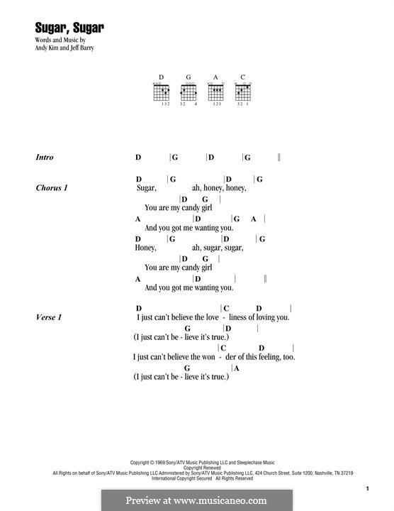 Sugar, Sugar (The Archies): Letras e Acordes by Andy Kim, Jeff Barry