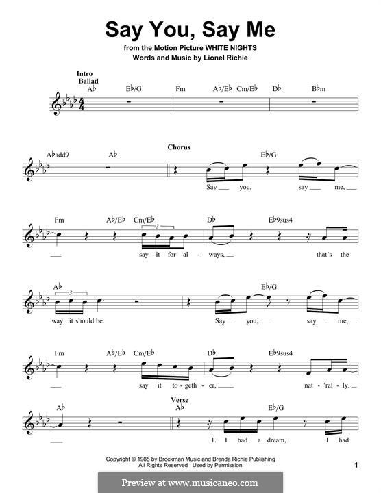 Say You, Say Me: Letras e Acordes by Lionel Richie