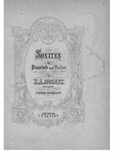 Sonatas for Violin and Piano: partitura by Wolfgang Amadeus Mozart