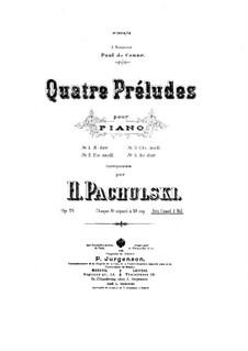 Four Preludes for Piano, Op.21: quatro introduções para piano by Henryk Pachulski