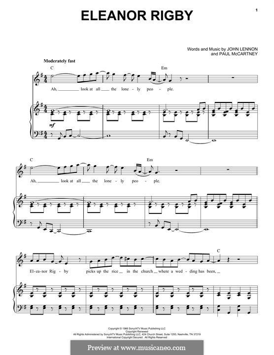 Eleanor Rigby (The Beatles): Para vocais e piano by John Lennon, Paul McCartney
