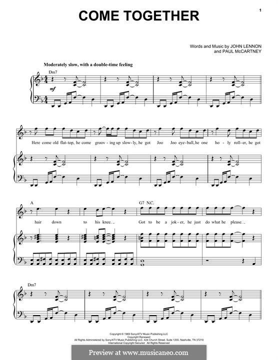 Come Together (The Beatles): Para vocais e piano by John Lennon, Paul McCartney