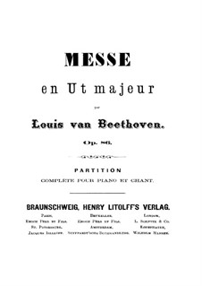 Mass in C Major, Op.86: para vozes e piano by Ludwig van Beethoven