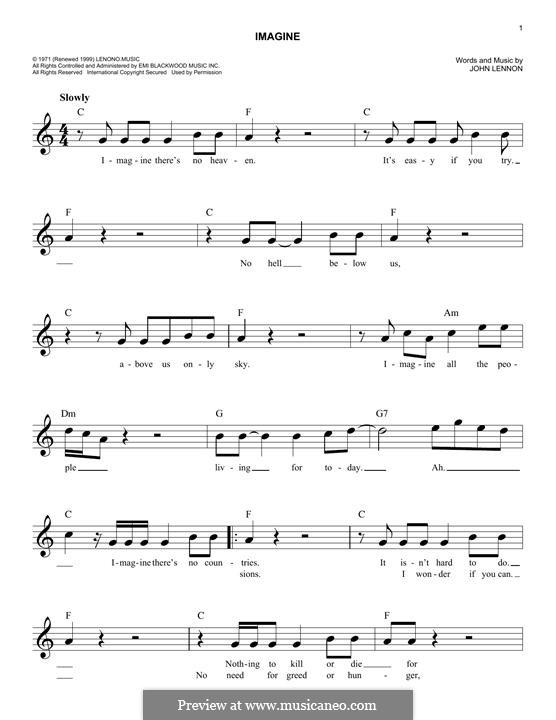 Imagine: Melody line by John Lennon
