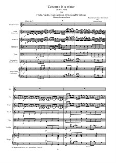 Triple Concerto for Flute, Violin and Harpsichord in A Minor, BWV 1044: Score, parts by Johann Sebastian Bach