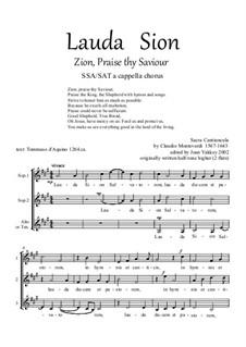 Lauda Sion: SSA by Claudio Monteverdi