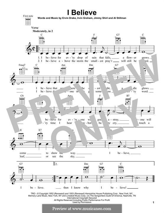 I Believe (Frankie Laine): para ukulele by Ervin Drake, Irvin Graham, Jimmy Shirl