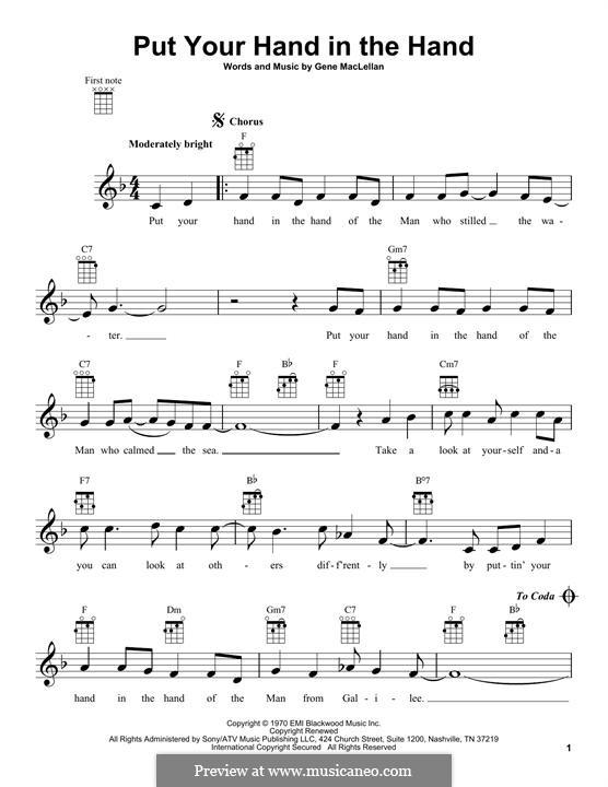 Put Your Hand in the Hand (Ocean): para ukulele by Gene MacLellan