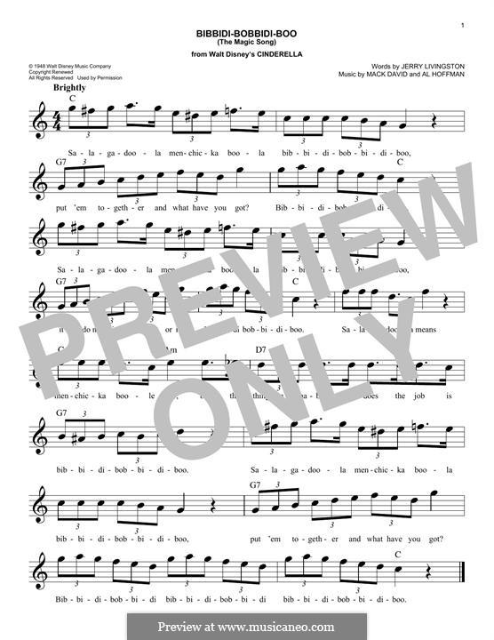 Bibbidi-Bobbidi-Boo (The Magic Song): melodia by Al Hoffman, Mack David