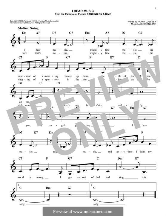 I Hear Music: melodia by Burton Lane