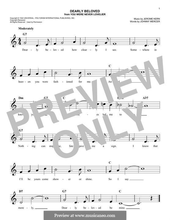 Dearly Beloved: melodia by Jerome Kern