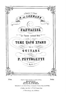 Fantasia on the Russian National Anthem 'God Save the Tsar', Op.15: Para Guitarra by Pietro Pettoletti