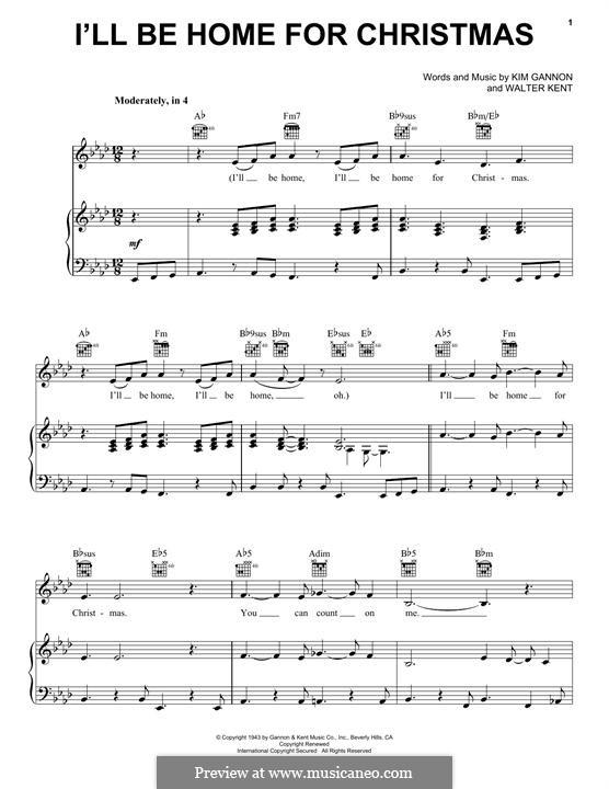 I'll Be Home for Christmas: Para vocais e piano (ou Guitarra) by Kim Gannon, Walter Kent