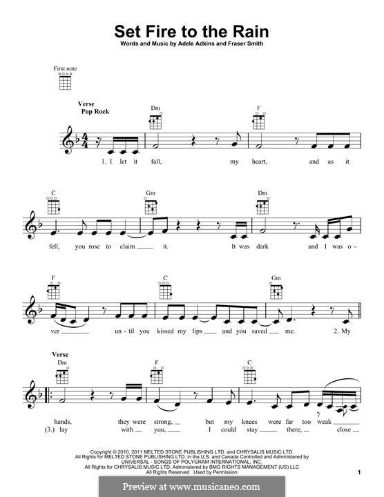 Set Fire to the Rain: para ukulele by Adele, Fraser T. Smith