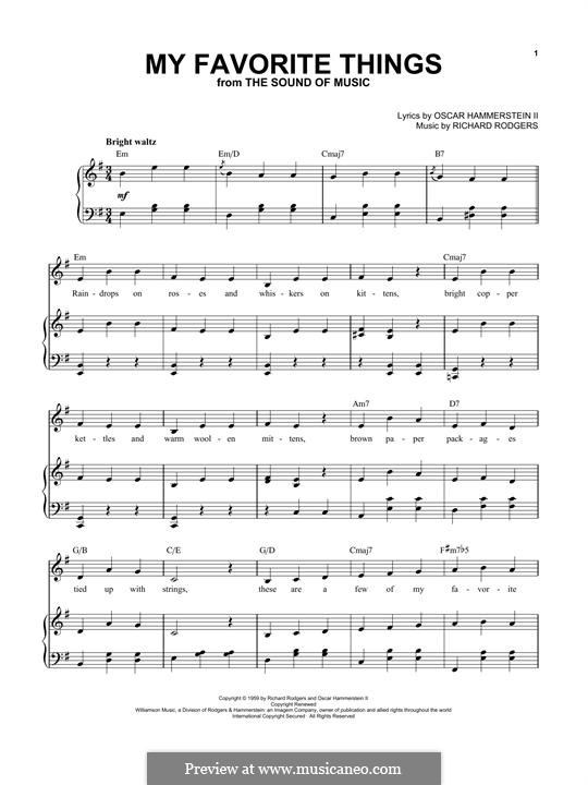 My Favorite Things (from The Sound of Music): Para vocais e piano by Richard Rodgers