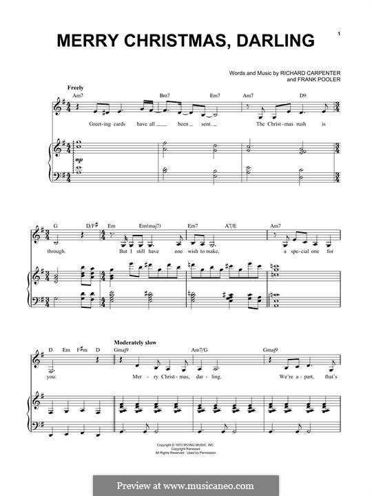 Merry Christmas, Darling (Carpenters): Para vocais e piano by Frank Pooler, Richard Carpenter