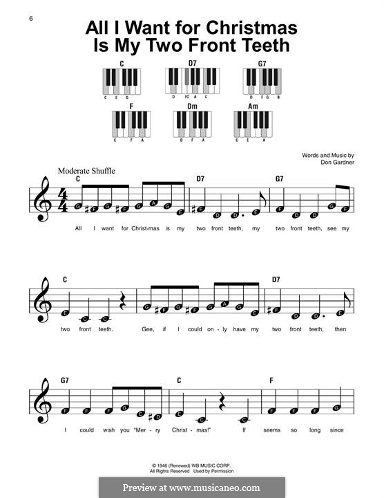 All I Want for Christmas Is My Two Front Teeth: Facil para o piano by Don Gardner