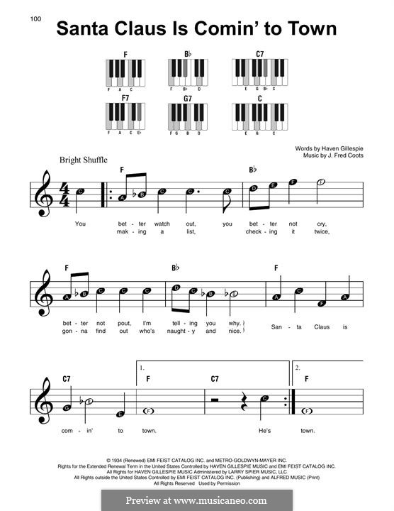 Santa Claus is Comin' to Town, for Piano: Versão Facil by J. Fred Coots