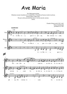 Ave Maria: For choir with embellishments by Claudio Monteverdi
