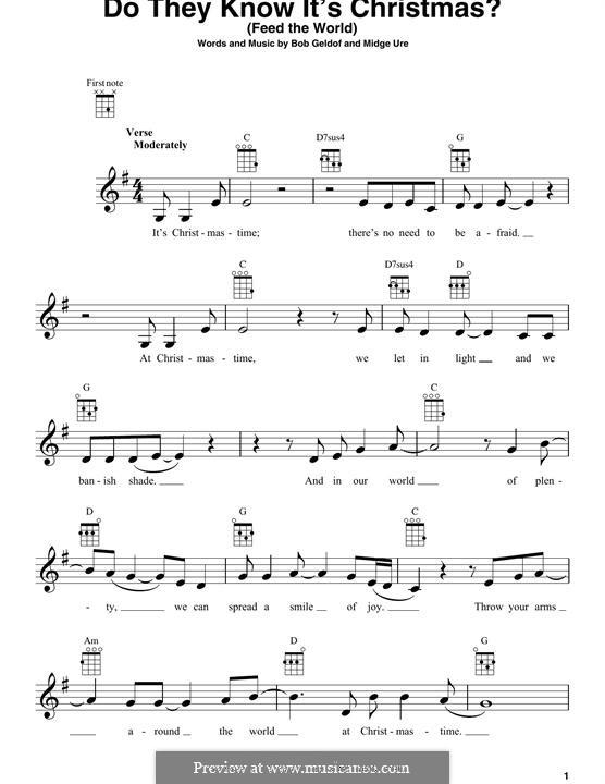 Do They Know It's Christmas? (Feed the World): para ukulele by Bob Geldof, Midge Ure