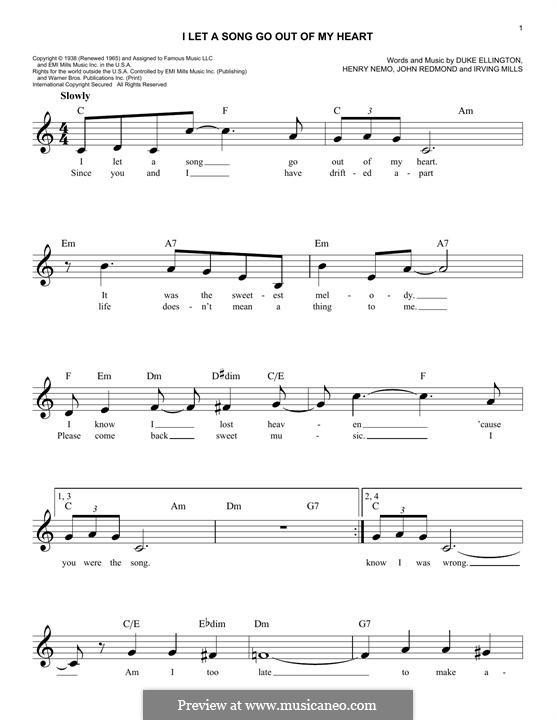 I Let a Song Go Out of My Heart (Duke Ellington): melodia by Irving Mills, Henry Nemo, John Redmond