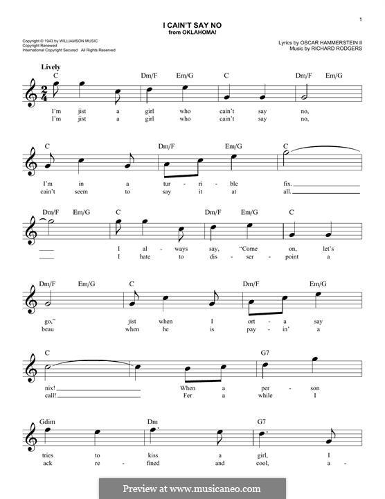 I Cain't Say No (from Oklahoma!): melodia by Richard Rodgers
