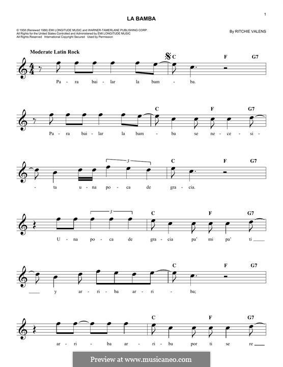 La Bamba: melodia by folklore, Ritchie Valens
