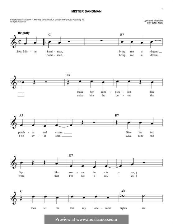 Mister Sandman (The Chordettes): melodia by Pat Ballard