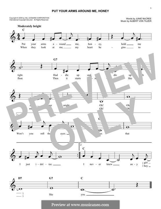 Put Your Arms Around Me, Honey: melodia by Albert von Tilzer