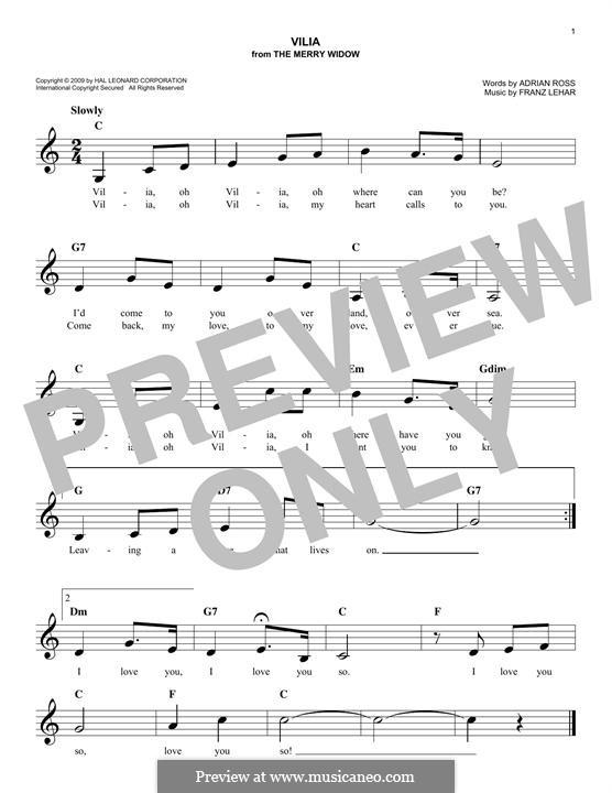 Vilja Lied: melodia by Franz Lehár