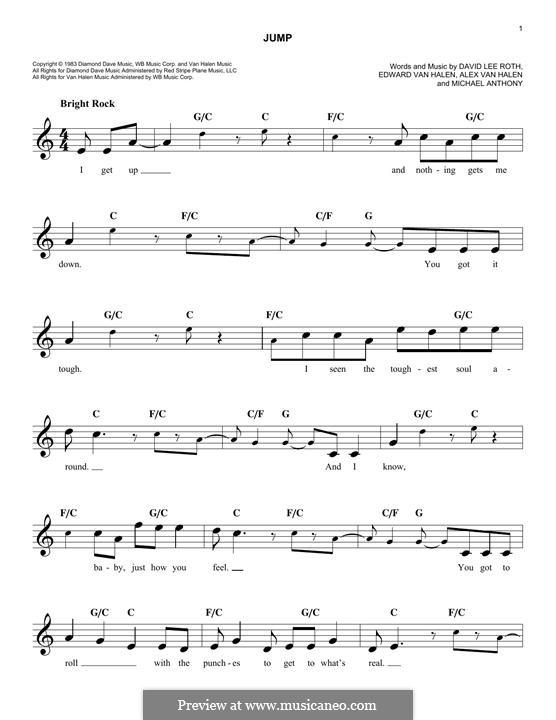 Jump (Van Halen): melodia by Alex Van Halen, David Lee Roth, Edward Van Halen, Michael Anthony