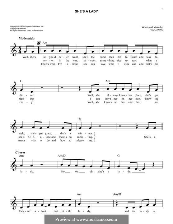 She's a Lady (Tom Jones): melodia by Paul Anka