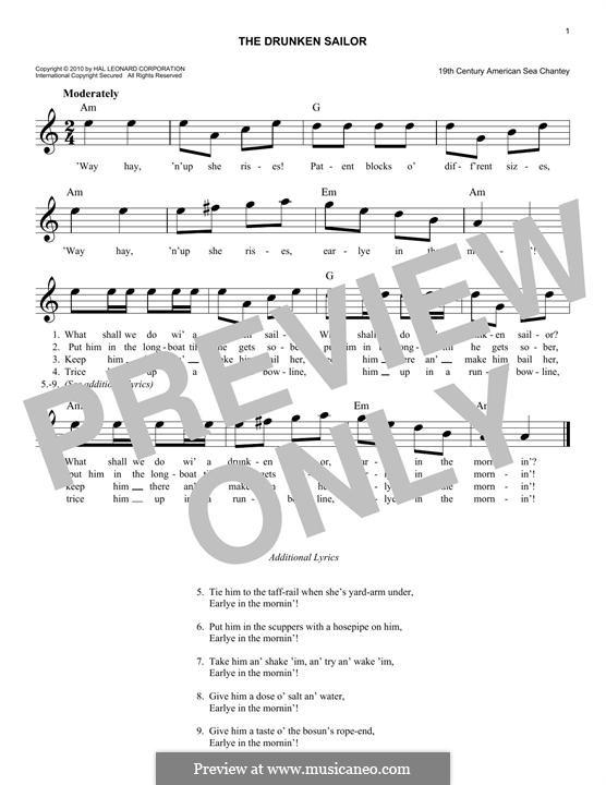 The Drunken Sailor: melodia by folklore