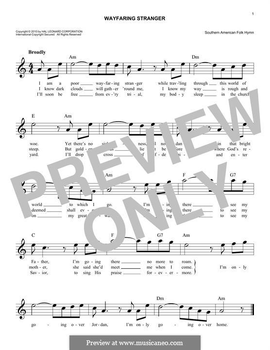 Wayfaring Stranger: melodia by folklore