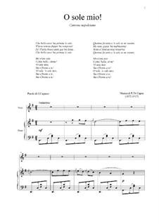 O Sole Mio: Para vocais e piano by Eduardo di Capua
