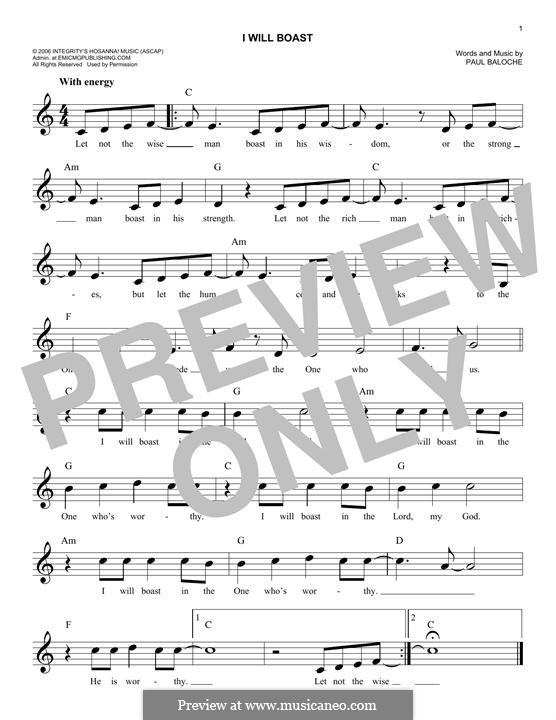I Will Boast: melodia by Paul Baloche
