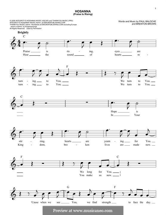 Hosanna (Praise is Rising): melodia by Paul Baloche, Brenton Brown
